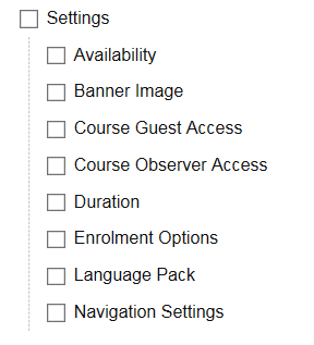 settings options