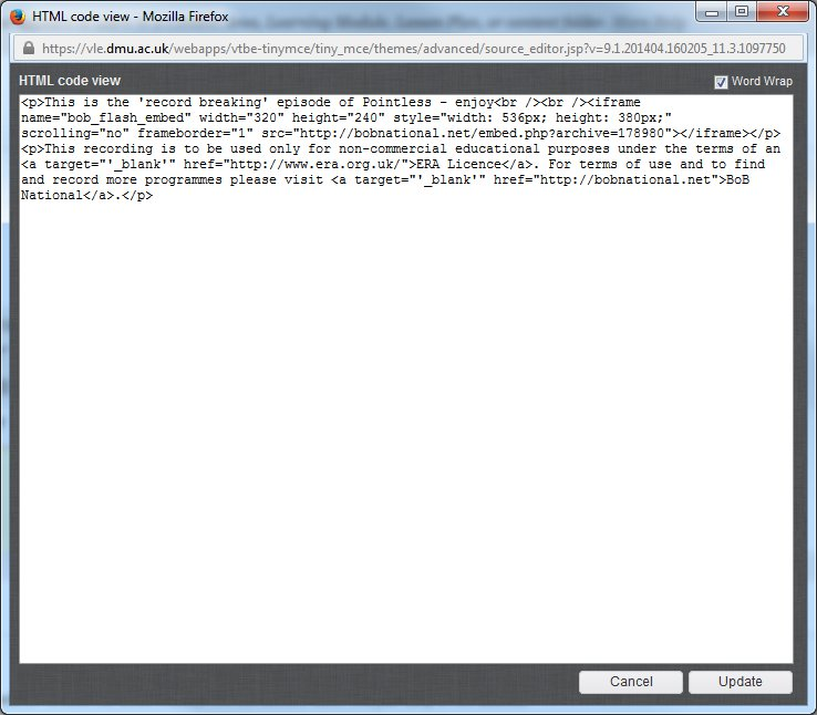 The HTML editor view