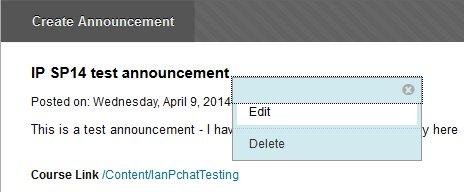 Editing an announcement