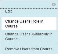 Selecting Change User's Role in Course