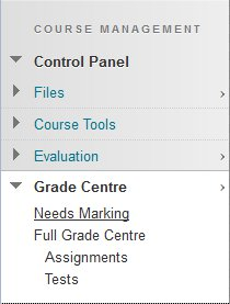 Accessing the Needs Marking section of Grade Centre