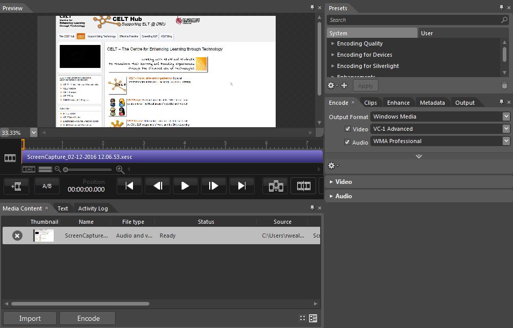 encoder screen