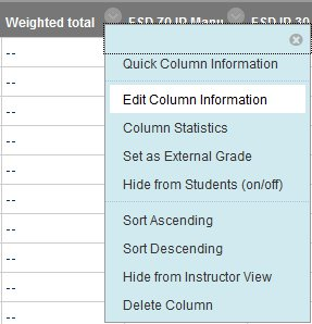 Selecting Edit Column Information