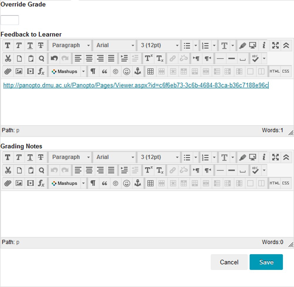 Adding the grade and video link in Blackboard