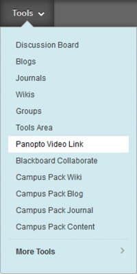 Clicking Tools Panopto Video Link