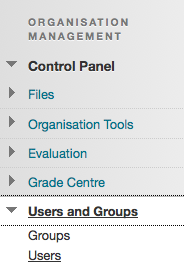 users menu option