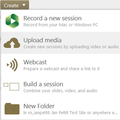 Clicking Create and Upload media