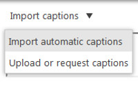 Selecting Import automatic captions