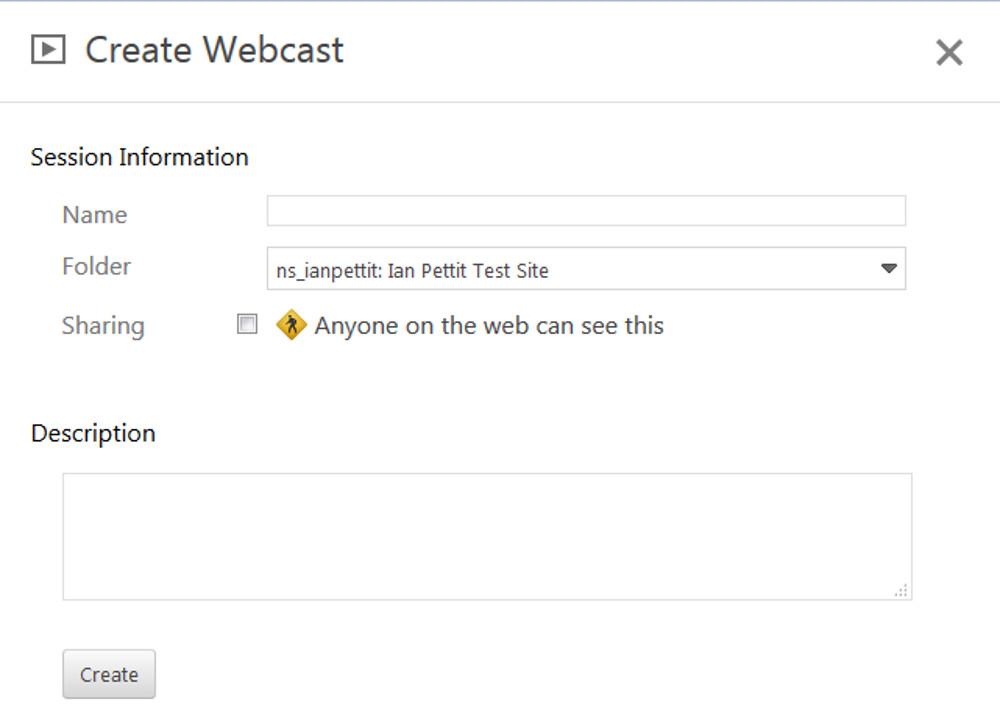 The Create webcast screen