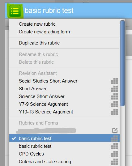 image of select rubric button