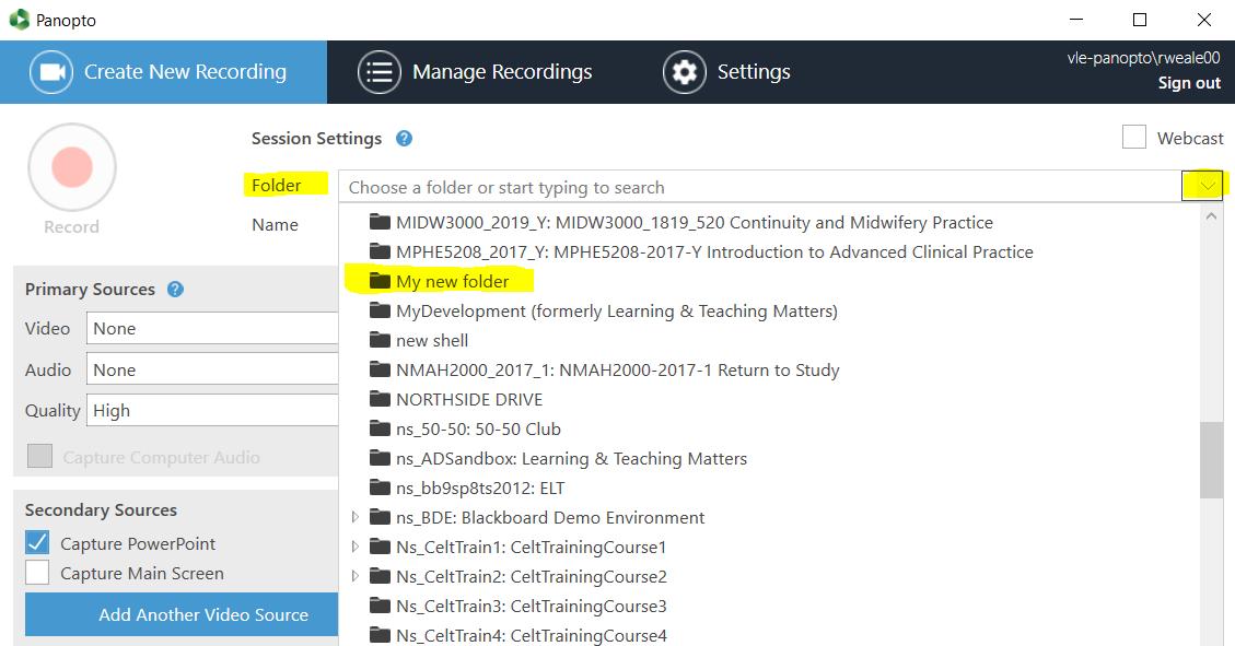 select folder menu