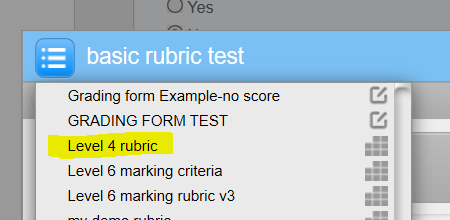 rubric listed in available rubrics