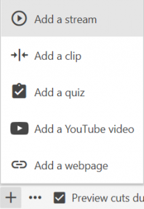 Clicking Add Content and Add a stream