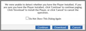 Clicking the Continue button