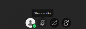 The Share audio and Share video buttons