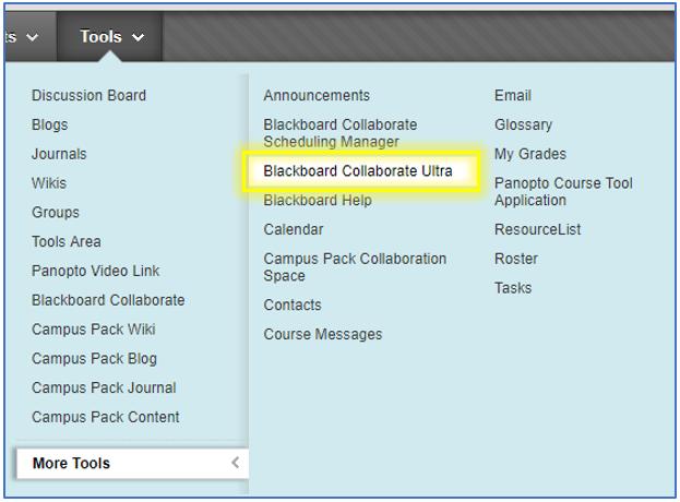Add Blackboard Collaborate Ultra tool