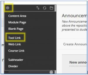 Add menu item tool link
