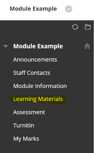 learning materials tab