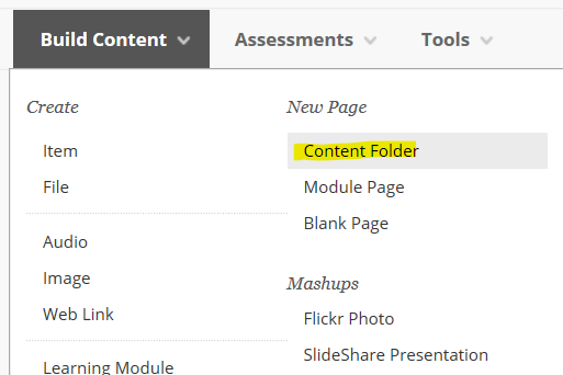 content folder option
