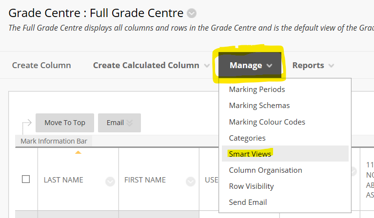 grade centre manage button