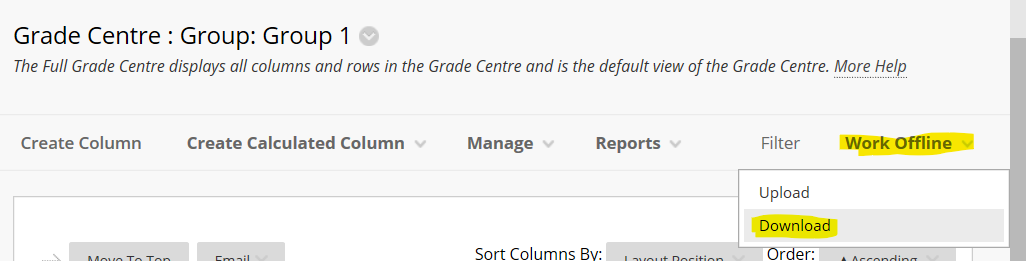 download grade centre option
