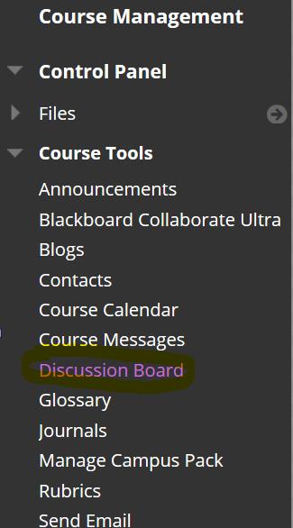 discussion board tab