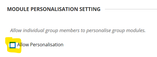 group personalisation panel