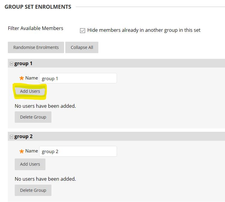 group enrol panel