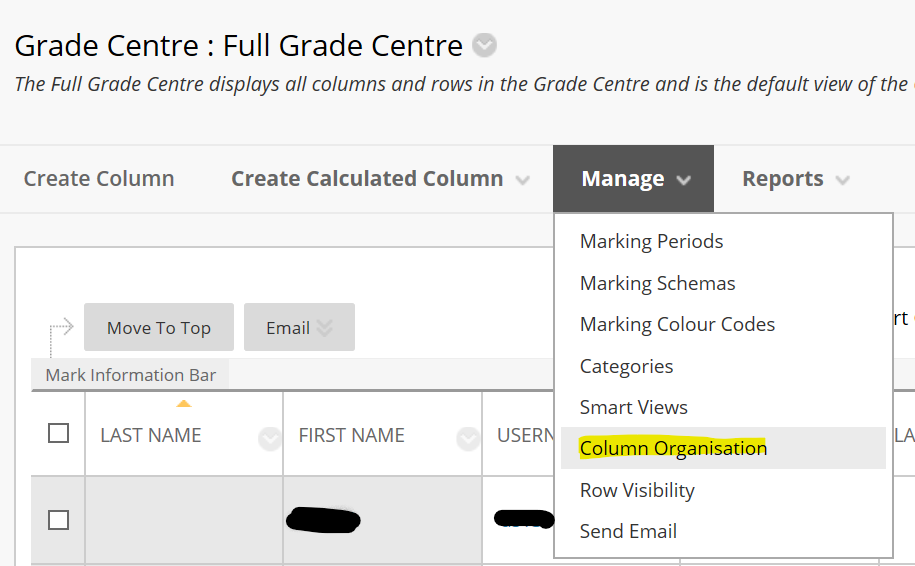 coloumn organisation option