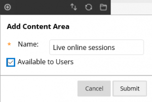 Creating a Content Area - step two