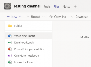 Selecting Files New Word document