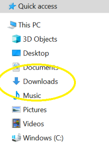 Locating the Downloads folder
