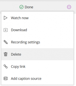 Deleting the recording from Blackboard Collaborate Ultra