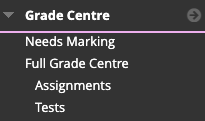 Selecting Grade Centre>Tests