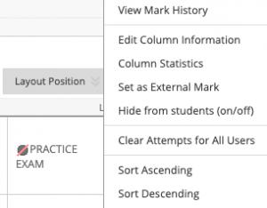 Selecting Edit Column Information