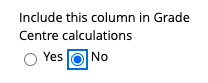 Changing 'Include this column in Grade Centre calculations' to No