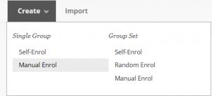 Selecting a Manual Enrol Single group