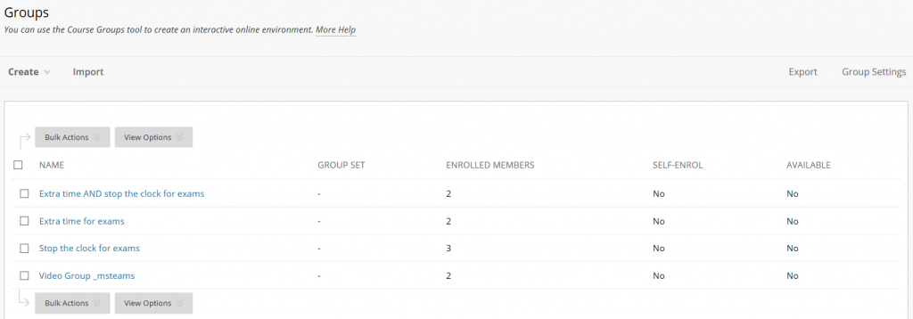 The Groups view with three Exams related Groups