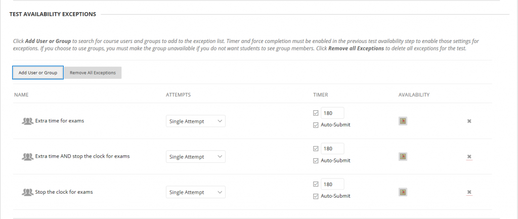Three Groups added to the Test Availability and Exceptions section