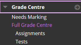 Selecting Grade Centre>Full Grade Centre