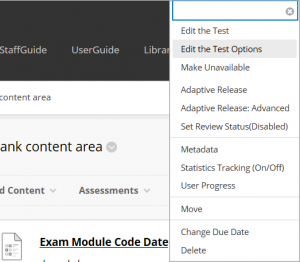 Accessing Modify the Test Options to manipulate the Display Until date