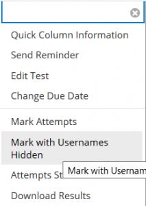Selecting Mark with Usernames Hidden