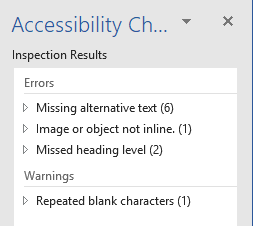 Screenshot of Inspection results in Accessibility checker listing 3 errors and 1 warning.