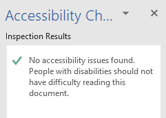 Accessibility checker inspection results showing no accessibility issues found.