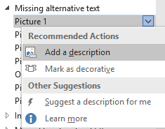 Screenshot showing Missing alternative text item listing Recommended Actions with Add a description highlighted.