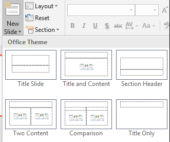 Screenshot showing New Slide with open drop down menu showing multiple slide layouts.