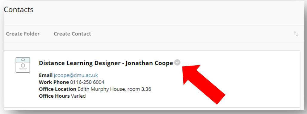 In Blackboard Staff contacts page, dropdown menu next to staff name is highlighted