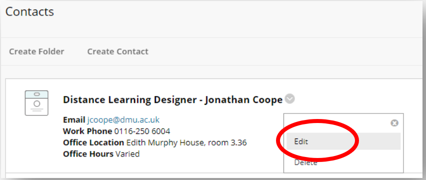 From dropdown menu of 'Edit' and 'Delete', Edit is highlighted