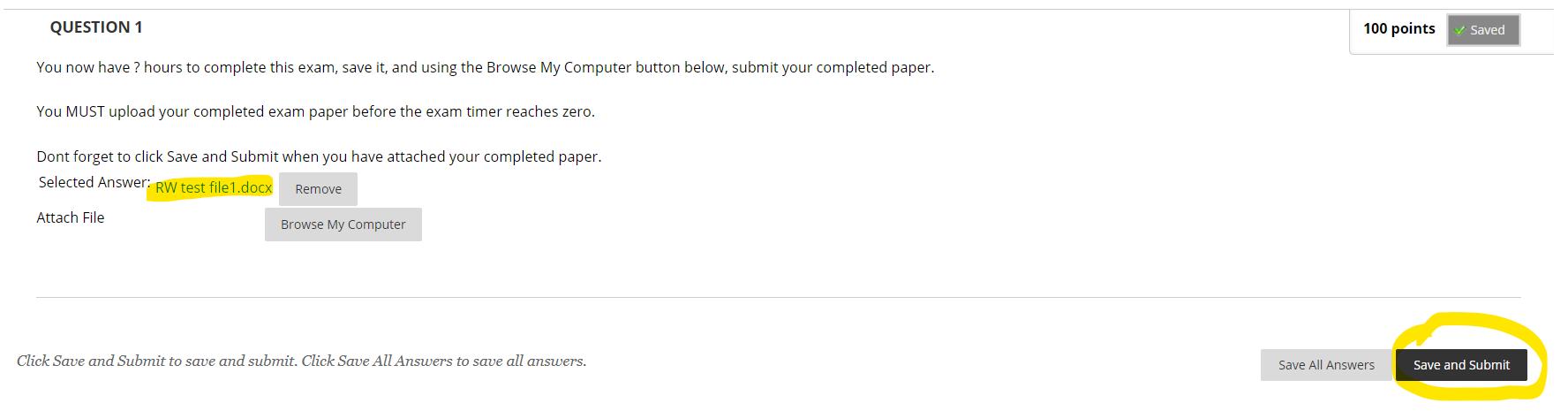 submit exam button