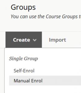 Selecting a Single Manual Enrol Group